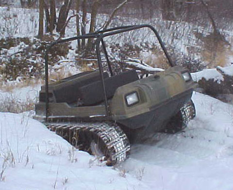 ATV with tracks and windshield